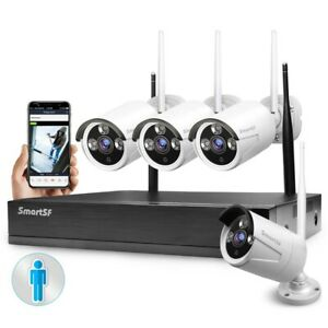 SmartSF 8CH 1080P NVR Security Camera System Wireless Outdoor CCTV Motion Alarm