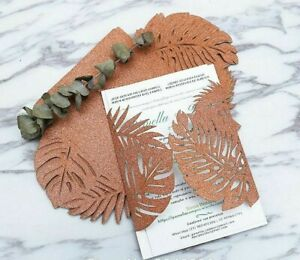 Copper Laser Cutting Wedding Invitations Tropical Pattern Event Party Supply New
