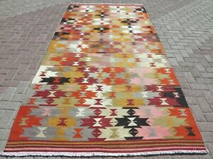 Vintage Turkish Kilim Area Rug Geometric Design Wool Floor Rug Carpet 614