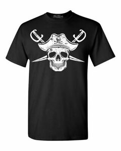 Pirate Skull Hat Swords T shirt Jolly Roger Halloween Costume Shirts