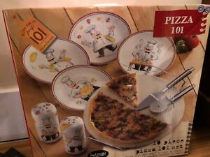 Pizza Stone Set 10pc Pizza Cooking Serving Rack Cutter Server Plates New in Box