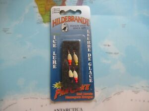 Hildebrandt Ice Lures Size #8 Glow Pan Cake Red Hooks 4 Pack Brand New