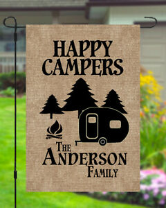 Happy Campers Personalized Custom Family Name Garden Banner Flag 11X14 To 12x18