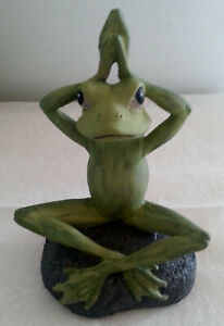 SALE Zen Nature inspired Hand painted Yoga Pose Frogs