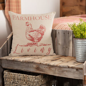 VHC Sawyer Mill Throw Pillow 18x18 Decorative Farmhouse Chicken Insert amp; Cover $23.95