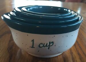 Sheffield Home Bluish-Green & White Porcelain Measuring Bowls Cups
