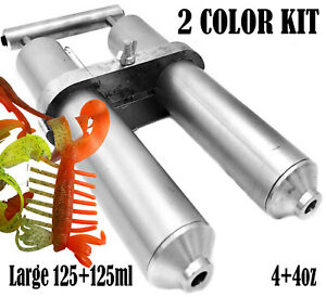 Aluminium Soft Lure Injector Mold 2 x 120 ml for Plastisol Dual Color Hand Kit