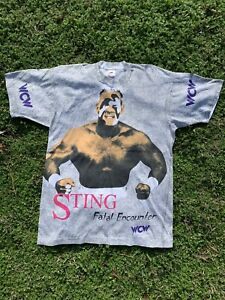 Very Rare Vintage All Over Print Wcw Sting Wrestling Tee