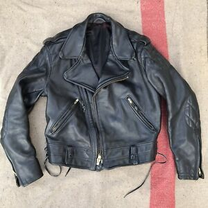 Vintage Perfecto Premium Quality Leather Motorcycle Jacket Size 46