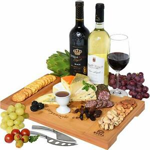 Unique Bamboo Cheese Board, Charcuterie Platter  Serving Tray for Wine,