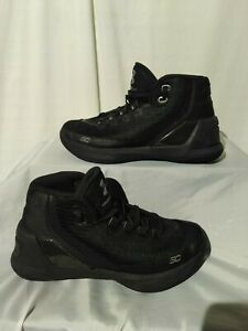 UNDER ARMOUR CURRY 3 Boys Youth Black Basketball Shoes Size 5.5Y $28.50