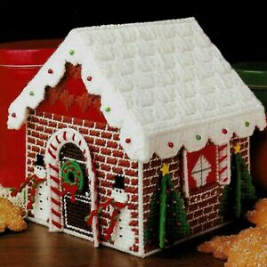 GINGERBREAD GOODIE HOUSE BOX CHRISTMAS PLASTIC CANVAS PATTERN INSTRUCTIONS $3.50