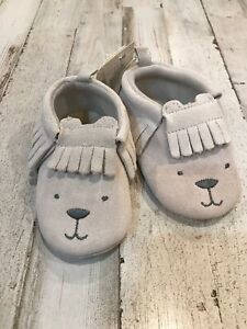 New BABYGAP Infant Bear Fringe Trim Moccasins Grey Splash Suede 18 24 Months