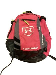 Under Armour Storm1 Kids Youth Backpack Pink Gray 3 Pocket Sports Bag Small $18.60