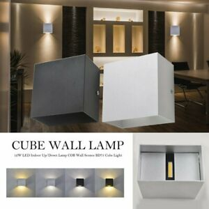 12W Modern LED Wall Lights Up/Down Outdoor/Indoor Lamp Sconce Cube Square Lamp
