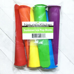 Silicone Ice Pop Molds Set of 6 Nature's Kitchen Rainbow Popsicle Tubes Push Pop