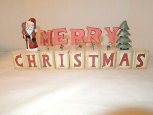 Wooden Blocks Merry Christmas w/ figures 14 inch length