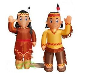HALLOWEEN THANKSGIVING INDIAN BOY amp; GIRL COMBO INFLATABLE AIRBLOWN 5 FT