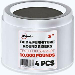 Iprimio Bed And Furniture Risers – 4 Pack Round Elevator Up To 3quot; And Lifts Up