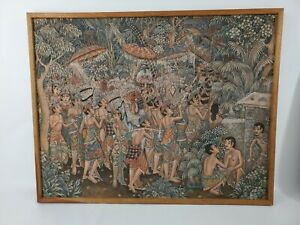 UBUD Indonesia Balinese Painting by Bali Artist Original Signed in Wooden Frame $189.99