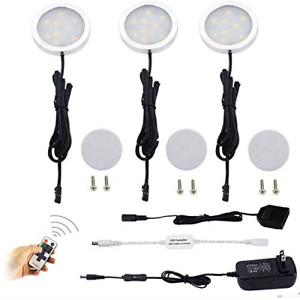 Puck Lights Dimmable LED Under Cabinet 3 Lamps Kit Remote Control Warm White New