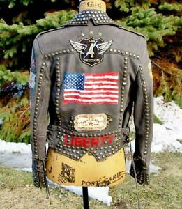 RARE Double D Ranch Easy Rider Lamb Leather Studded Biker Jacket EUC XS $818