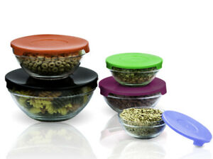 10 Pcs Glass Lunch Bowls Food Storage Containers Set With Color Coded Lids