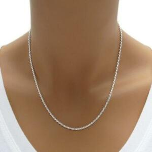1.5MM Solid 925 Sterling Silver Italian DIAMOND CUT ROPE CHAIN Necklace Italy $9.99