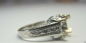 Antique Deco Vintage Setting Mounting 20K White Gold Hold 8MM Ring Sz 8.75 UK R $574.00