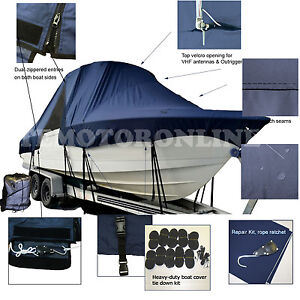 Mako 284 CC Offshore Center Console Fishing T-Top Hard-Top Boat Cover Navy
