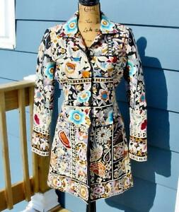 Fabulous Biya Johnny Was Silk Embroidered Flowers Boho Jacket EUC S