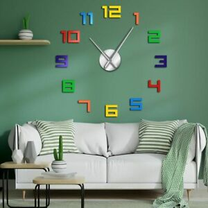 Colorful Numbers Wall Clock Rainbow For Kids DIY Giant Wall Clock Multicoloured