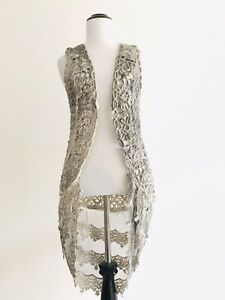 Origami by Vivien Womens Size S Gray Long Vest Sleeveless Kimono Top Cutout