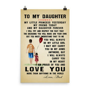 Inspiration Quotes Poster Gift for Daughter from Father Carry You in My Heart