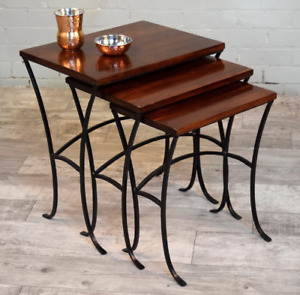 William Sheppee Depot Nesting Set 3 End Tables in English Chestnut DPT217