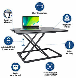 Conquer Compact Standing Desk Height AdjustableTabletop Sit to Stand Workstation