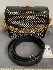 NWT Alexander McQueen Box 19 Black Fish Scale Studded Leather Shoulder Bag $2770