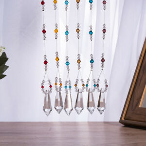 LONGWIN Set 6 Crystal Prisms Ornament Handmade Pendant Wedding Decor Craft Gifts