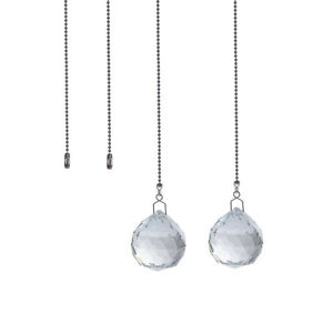 LONGWIN Set 2 Clear Crystal Pull Ball Chain Ceiling Fan Lighting Switch Parts
