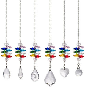 LONGWIN Set 6 Crystal Suncatcher Stained Glass Pendant in the Garden Window Gift
