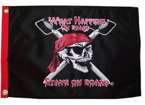 Flappin' Flags What Happens on Board - 12 in x 18 in Double Sided Pirate Flag