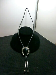 Vintage J J Sterling Signed Stone Inlay Sterling Silver Bolo Tie $44.99