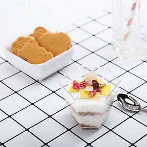 3 oz PLASTIC DESSERT CLEAR CUPS Finger Food Disposable TABLEWARE Wedding Party
