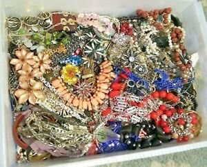 Unsearched Jewelry Vintage Now Huge Lot Junk Craft Box 3 FULL POUNDS Piece Part $35.09