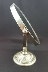 Vanity Mirror Antique With Ornate Silver Plated Stand $49.00