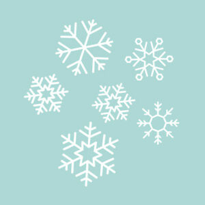 Set of 6 Vinyl Wall Art Decal - Snowflakes - from 5* x 7.5* Each - Christmas Hol