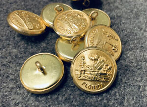 7 8quot; Civil War Brass quot;Floridaquot; Confederate State buttons Lot of 9 Large NEW $8.99