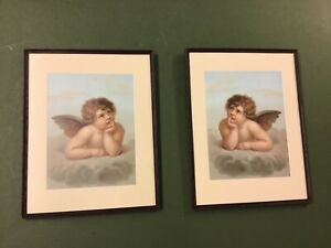 Antique Pair Cupid Chromolithographs Well Framed