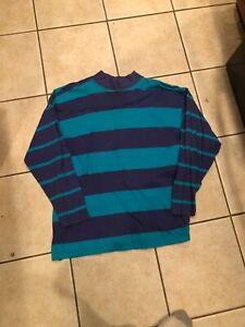 Vintage 1990s Woolrich Womens Blueberry Striped Long Sleeve T Shirt $18.00