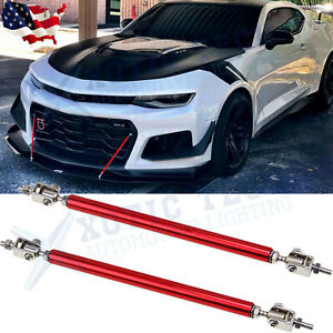 Red Adjust Front Bumper Lip Splitter Strut Rod Tie Support Bars For Chevy Camaro